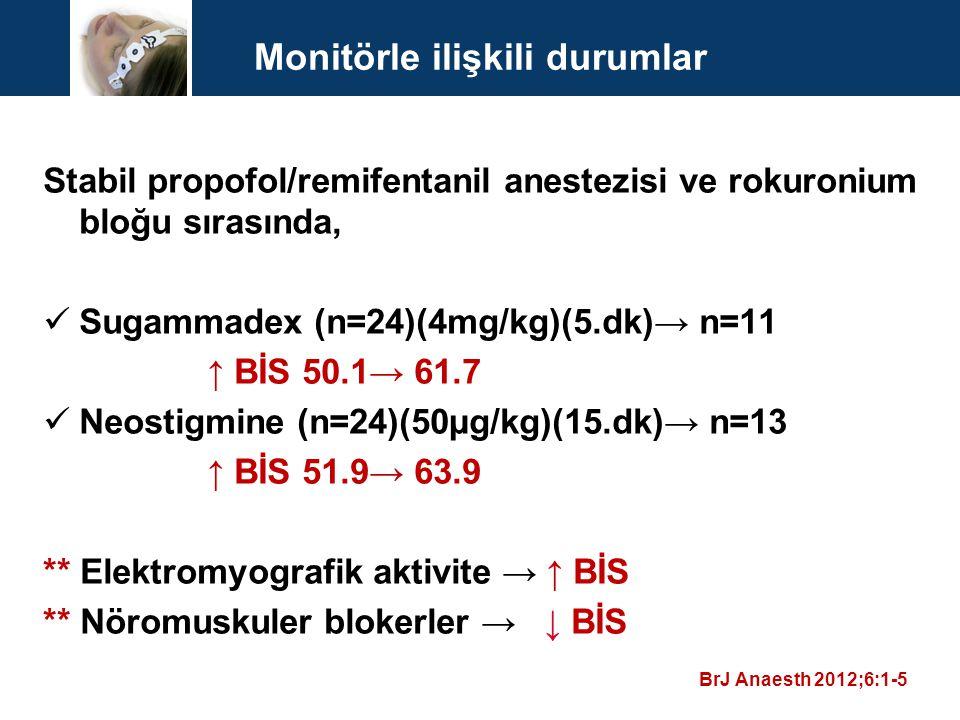 Monitörle ilişkili durumlar Stabil propofol/remifentanil anestezisi ve rokuronium bloğu sırasında, Sugammadex (n=24)(4mg/kg)(5.dk)→ n=11 ↑ BİS 50.1→ 6