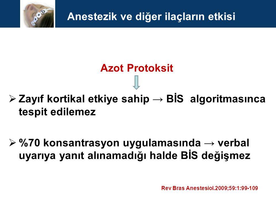 Anestezik ve diğer ilaçların etkisi Azot Protoksit  Zayıf kortikal etkiye sahip → BİS algoritmasınca tespit edilemez  %70 konsantrasyon uygulamasınd