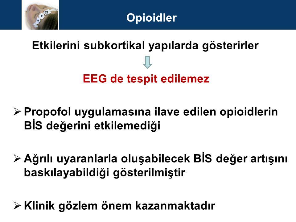 Opioidler Etkilerini subkortikal yapılarda gösterirler EEG de tespit edilemez  Propofol uygulamasına ilave edilen opioidlerin BİS değerini etkilemedi