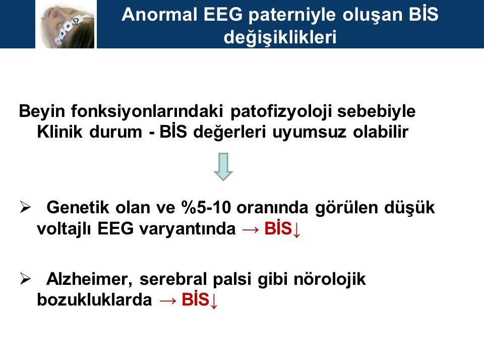 Anormal EEG paterniyle oluşan BİS değişiklikleri Beyin fonksiyonlarındaki patofizyoloji sebebiyle Klinik durum - BİS değerleri uyumsuz olabilir  Gene