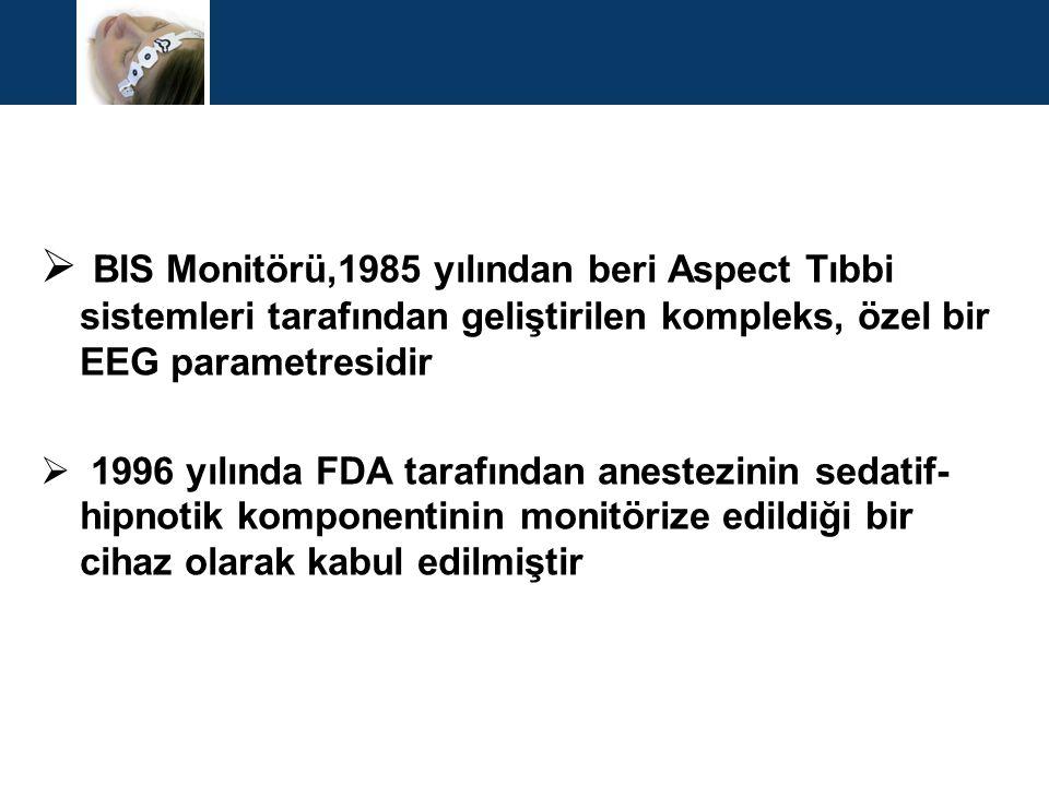  BIS Monitörü,1985 yılından beri Aspect Tıbbi sistemleri tarafından geliştirilen kompleks, özel bir EEG parametresidir  1996 yılında FDA tarafından