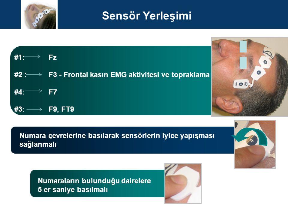 #1: Fz #2 : F3 - Frontal kasın EMG aktivitesi ve topraklama #4: F7 #3: F9, FT9 Numara çevrelerine basılarak sensörlerin iyice yapışması sağlanmalı Num