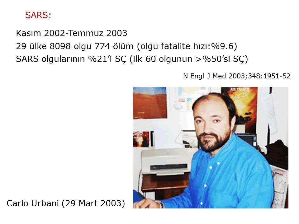 SARS: Kasım 2002-Temmuz 2003 29 ülke 8098 olgu 774 ölüm (olgu fatalite hızı:%9.6) SARS olgularının %21'i SÇ (ilk 60 olgunun >%50'si SÇ) Carlo Urbani (29 Mart 2003) N Engl J Med 2003;348:1951-52