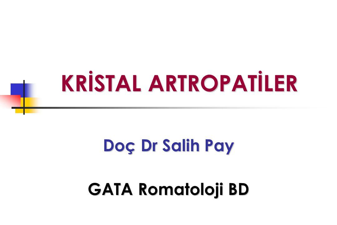 KRİSTAL ARTROPATİLER KRİSTAL ARTROPATİLER Doç Dr Salih Pay GATA Romatoloji BD