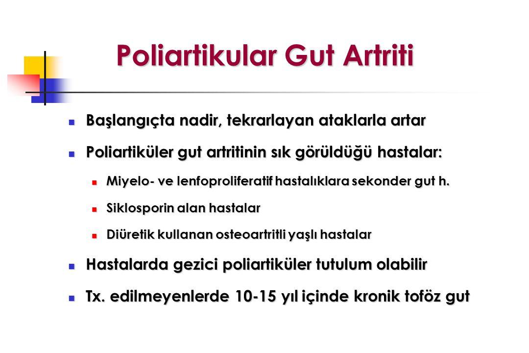 Poliartikular Gut Artriti Başlangıçta nadir, tekrarlayan ataklarla artar Başlangıçta nadir, tekrarlayan ataklarla artar Poliartiküler gut artritinin sık görüldüğü hastalar: Poliartiküler gut artritinin sık görüldüğü hastalar: Miyelo- ve lenfoproliferatif hastalıklara sekonder gut h.