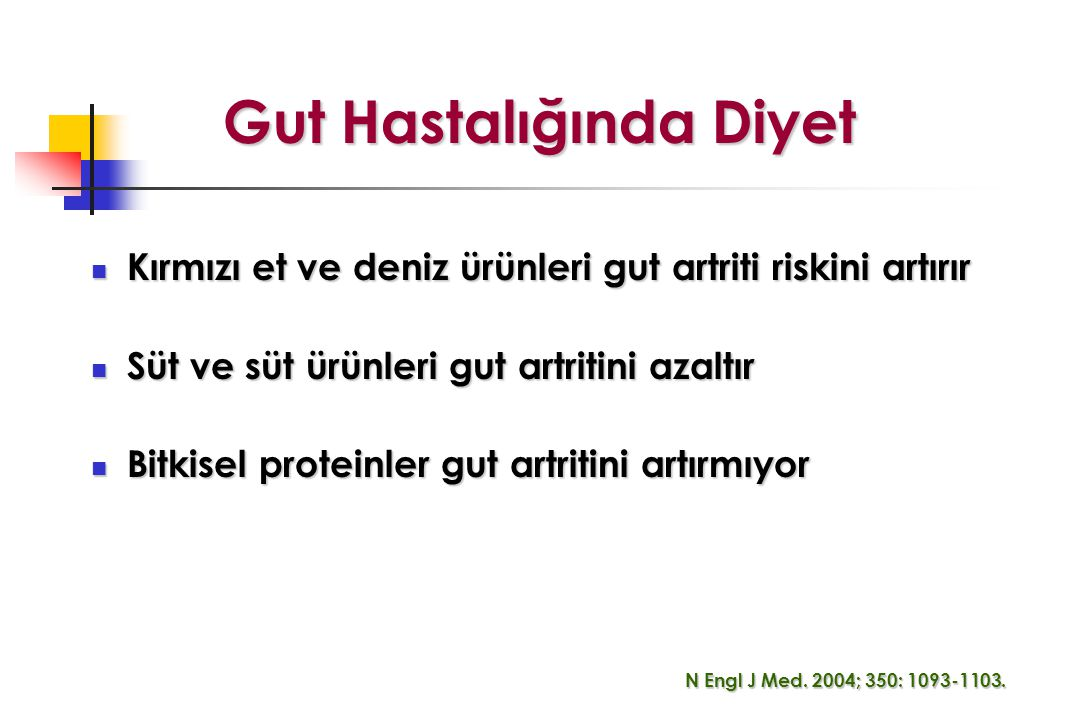 Gut Hastalığında Diyet Kırmızı et ve deniz ürünleri gut artriti riskini artırır Kırmızı et ve deniz ürünleri gut artriti riskini artırır Süt ve süt ürünleri gut artritini azaltır Süt ve süt ürünleri gut artritini azaltır Bitkisel proteinler gut artritini artırmıyor Bitkisel proteinler gut artritini artırmıyor N Engl J Med.