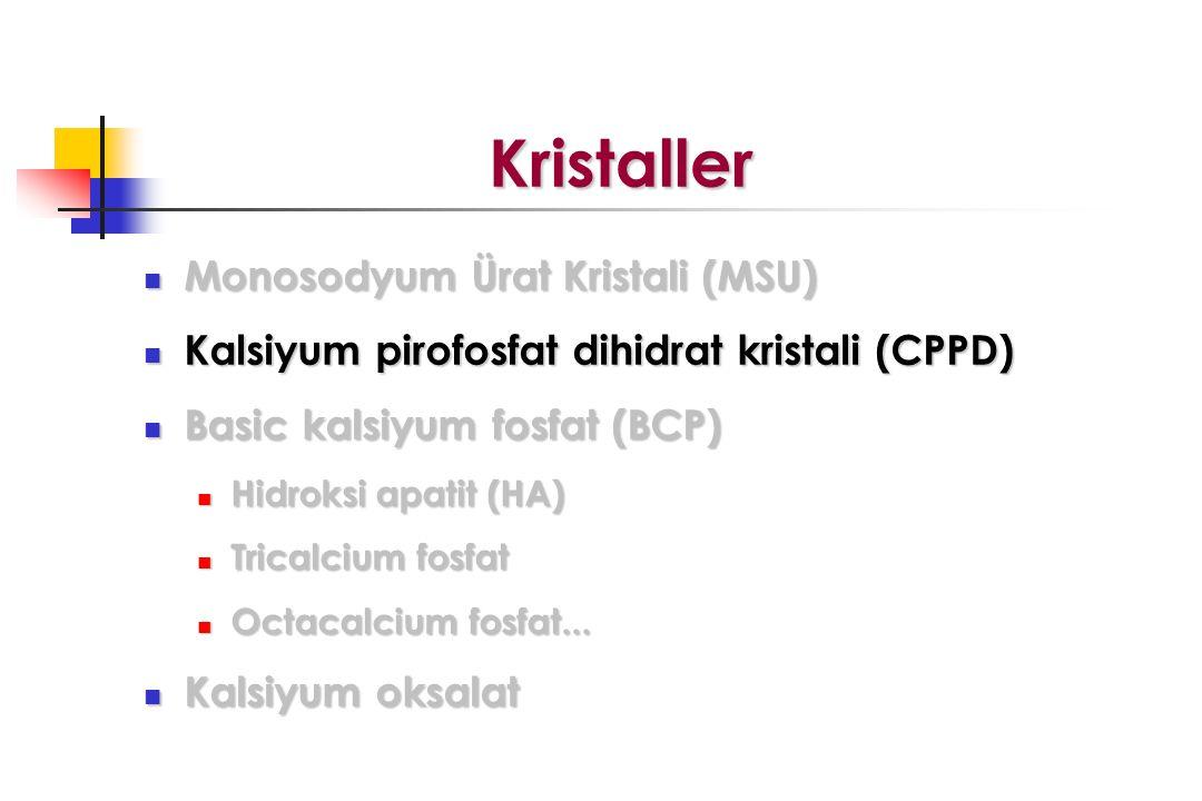 Kristaller Kristaller Monosodyum Ürat Kristali (MSU) Monosodyum Ürat Kristali (MSU) Kalsiyum pirofosfat dihidrat kristali (CPPD) Kalsiyum pirofosfat dihidrat kristali (CPPD) Basic kalsiyum fosfat (BCP) Basic kalsiyum fosfat (BCP) Hidroksi apatit (HA) Hidroksi apatit (HA) Tricalcium fosfat Tricalcium fosfat Octacalcium fosfat...