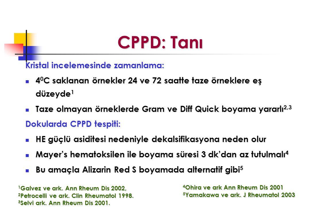 CPPD: Tanı CPPD: Tanı Kristal incelemesinde zamanlama: 4 0 C saklanan örnekler 24 ve 72 saatte taze örneklere eş düzeyde 1 4 0 C saklanan örnekler 24 ve 72 saatte taze örneklere eş düzeyde 1 Taze olmayan örneklerde Gram ve Diff Quick boyama yararlı 2,3 Taze olmayan örneklerde Gram ve Diff Quick boyama yararlı 2,3 Dokularda CPPD tespiti: HE güçlü asiditesi nedeniyle dekalsifikasyona neden olur HE güçlü asiditesi nedeniyle dekalsifikasyona neden olur Mayer's hematoksilen ile boyama süresi 3 dk'dan az tutulmalı 4 Mayer's hematoksilen ile boyama süresi 3 dk'dan az tutulmalı 4 Bu amaçla Alizarin Red S boyamada alternatif gibi 5 Bu amaçla Alizarin Red S boyamada alternatif gibi 5 1 Galvez ve ark.
