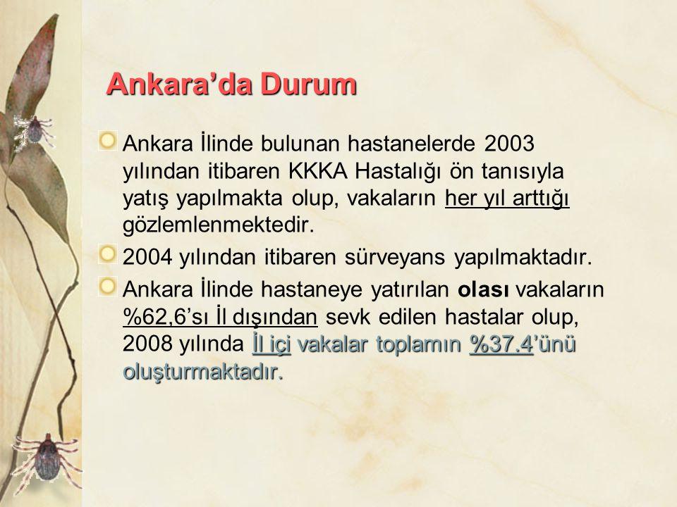 Ankara'da Durum Ankara İlinde bulunan hastanelerde 2003 yılından itibaren KKKA Hastalığı ön tanısıyla yatış yapılmakta olup, vakaların her yıl arttığı
