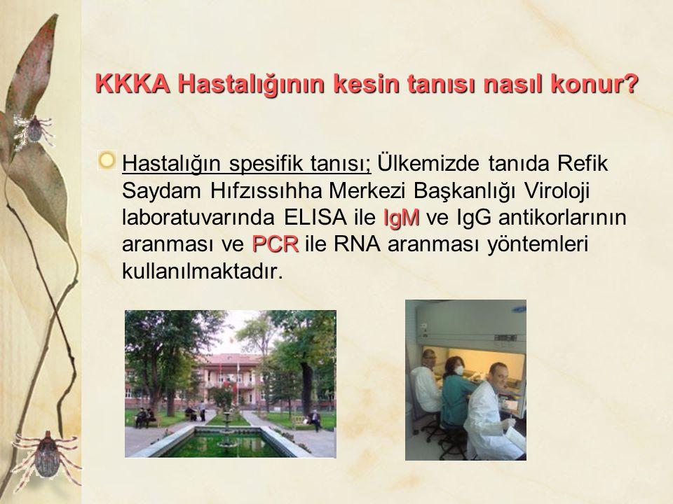 KKKA Hastalığının kesin tanısı nasıl konur? IgM PCR Hastalığın spesifik tanısı; Ülkemizde tanıda Refik Saydam Hıfzıssıhha Merkezi Başkanlığı Viroloji