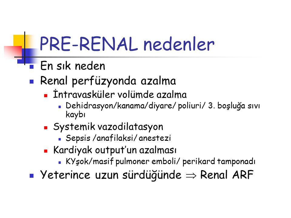 PRE-RENAL nedenler En sık neden Renal perfüzyonda azalma İntravasküler volümde azalma Dehidrasyon/kanama/diyare/ poliuri/ 3. boşluğa sıvı kaybı System