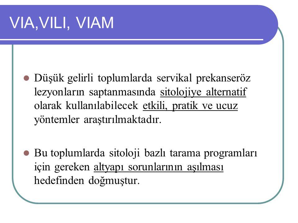 VIA,VILI, VIAM Düşük gelirli toplumlarda servikal prekanseröz lezyonların saptanmasında sitolojiye alternatif olarak kullanılabilecek etkili, pratik v