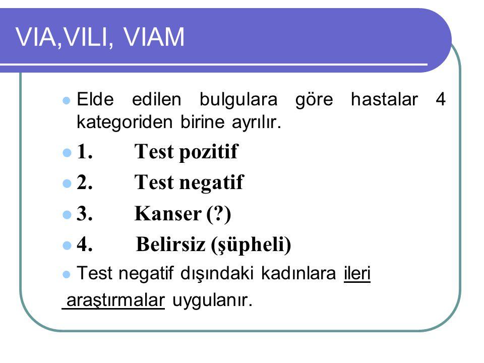 VIA,VILI, VIAM Elde edilen bulgulara göre hastalar 4 kategoriden birine ayrılır. 1.Test pozitif 2.Test negatif 3.Kanser (?) 4. Belirsiz (şüpheli) Test