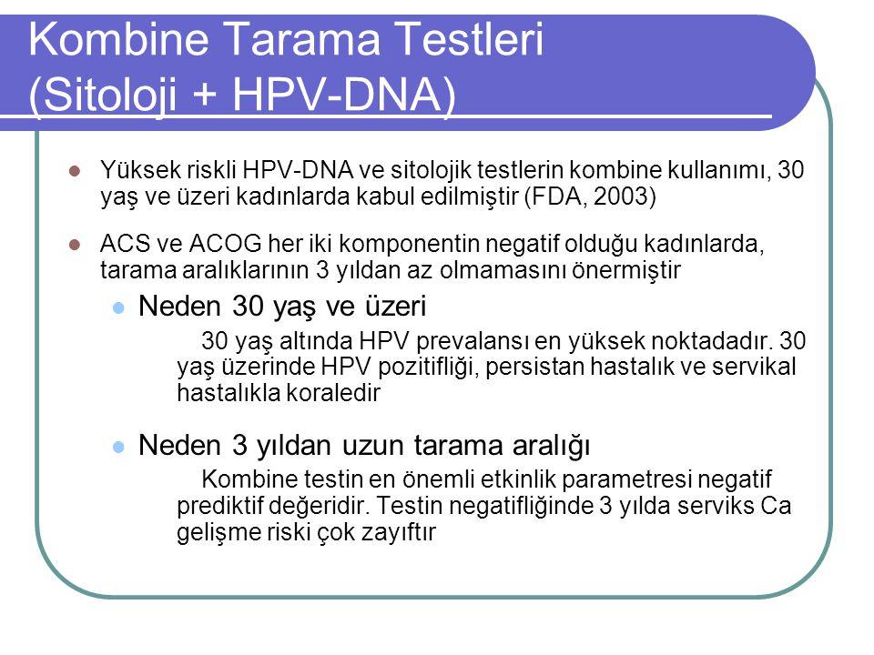 Kombine Tarama Testleri (Sitoloji + HPV-DNA) Yüksek riskli HPV-DNA ve sitolojik testlerin kombine kullanımı, 30 yaş ve üzeri kadınlarda kabul edilmişt