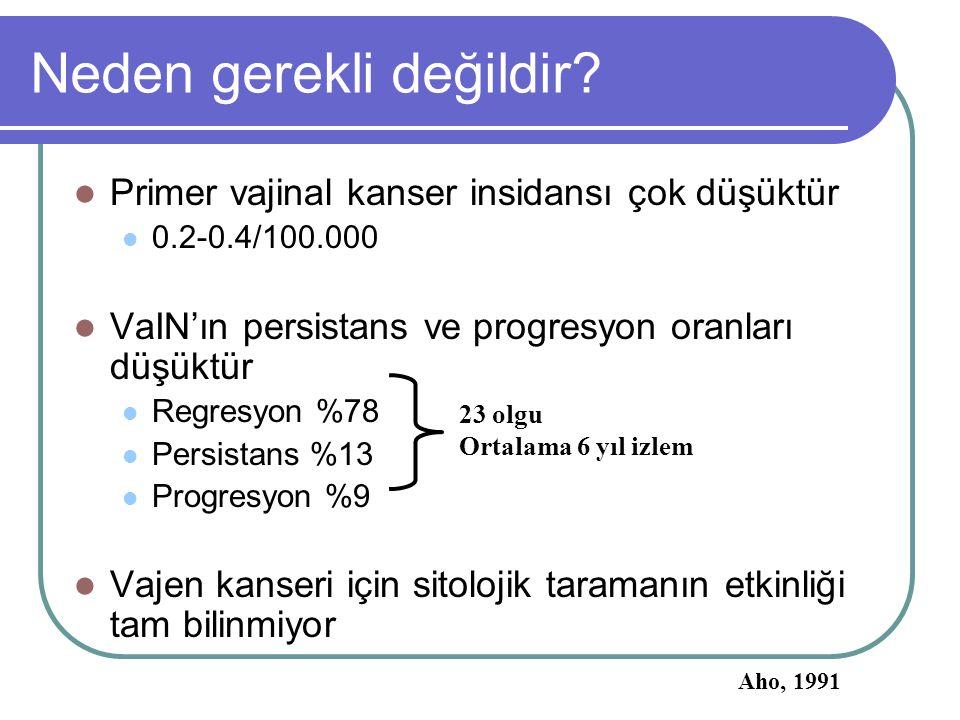 Neden gerekli değildir? Primer vajinal kanser insidansı çok düşüktür 0.2-0.4/100.000 VaIN'ın persistans ve progresyon oranları düşüktür Regresyon %78