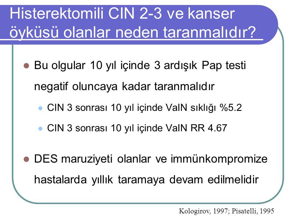 Histerektomili CIN 2-3 ve kanser öyküsü olanlar neden taranmalıdır? Bu olgular 10 yıl içinde 3 ardışık Pap testi negatif oluncaya kadar taranmalıdır C