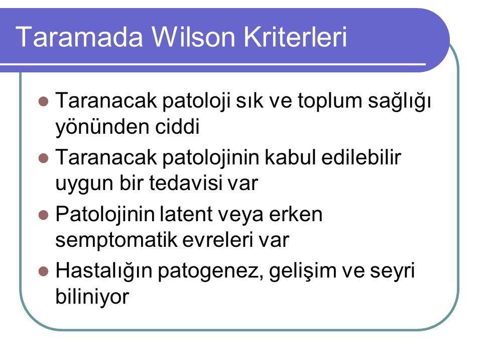 Taramada Wilson Kriterleri Taranacak patoloji sık ve toplum sağlığı yönünden ciddi Taranacak patolojinin kabul edilebilir uygun bir tedavisi var Patol