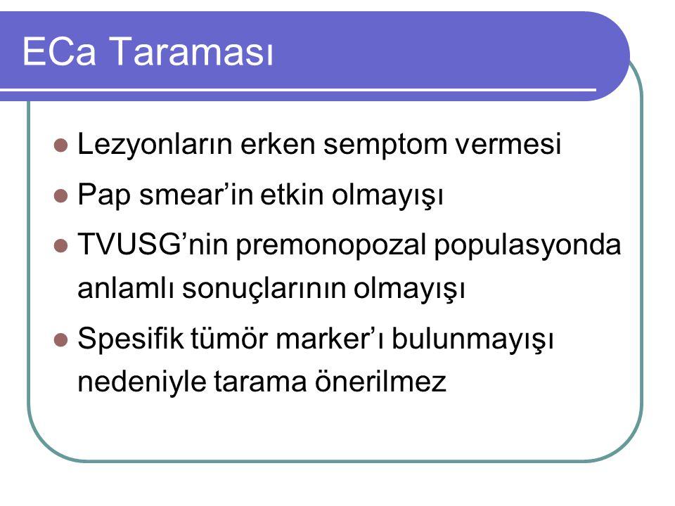 ECa Taraması Lezyonların erken semptom vermesi Pap smear'in etkin olmayışı TVUSG'nin premonopozal populasyonda anlamlı sonuçlarının olmayışı Spesifik