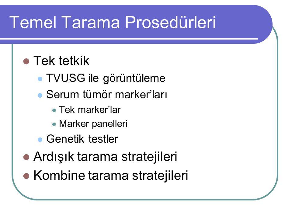 Temel Tarama Prosedürleri Tek tetkik TVUSG ile görüntüleme Serum tümör marker'ları Tek marker'lar Marker panelleri Genetik testler Ardışık tarama stra