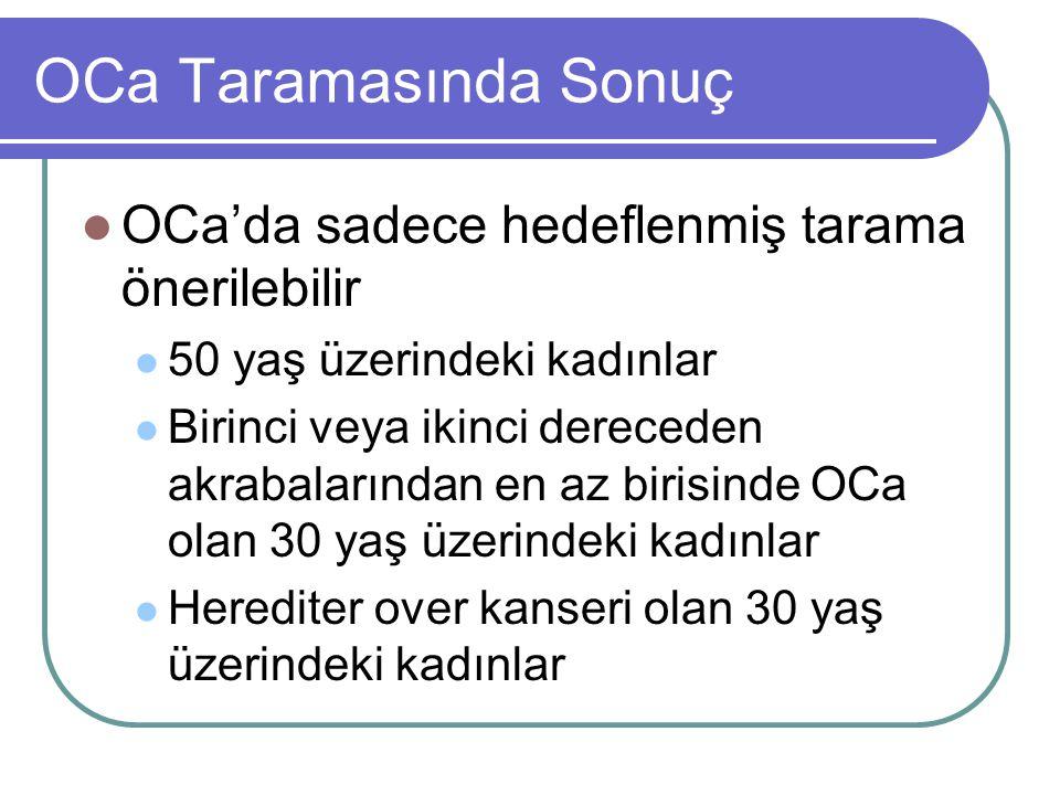 OCa Taramasında Sonuç OCa'da sadece hedeflenmiş tarama önerilebilir 50 yaş üzerindeki kadınlar Birinci veya ikinci dereceden akrabalarından en az biri