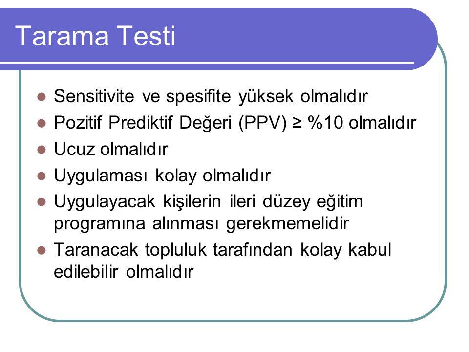 Tarama Testi Sensitivite ve spesifite yüksek olmalıdır Pozitif Prediktif Değeri (PPV) ≥ %10 olmalıdır Ucuz olmalıdır Uygulaması kolay olmalıdır Uygula
