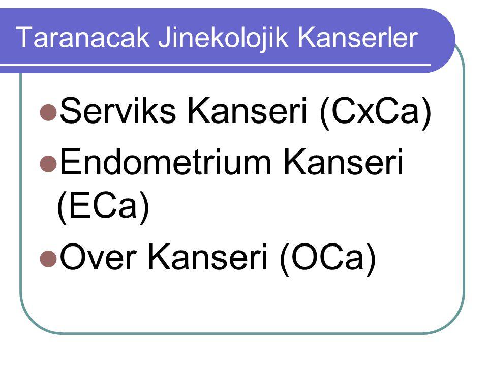 Taranacak Jinekolojik Kanserler Serviks Kanseri (CxCa) Endometrium Kanseri (ECa) Over Kanseri (OCa)