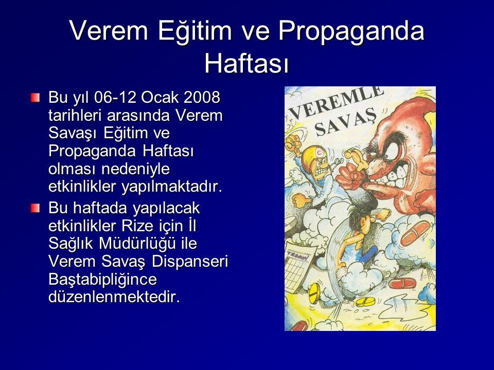 Verem Eğitim ve Propaganda Haftası Bu yıl 06-12 Ocak 2008 tarihleri arasında Verem Savaşı Eğitim ve Propaganda Haftası olması nedeniyle etkinlikler ya