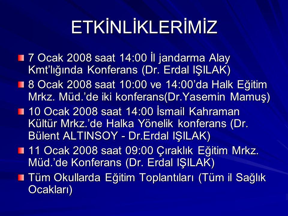 ETKİNLİKLERİMİZ 7 Ocak 2008 saat 14:00 İl jandarma Alay Kmt'lığında Konferans (Dr. Erdal IŞILAK) 8 Ocak 2008 saat 10:00 ve 14:00'da Halk Eğitim Mrkz.