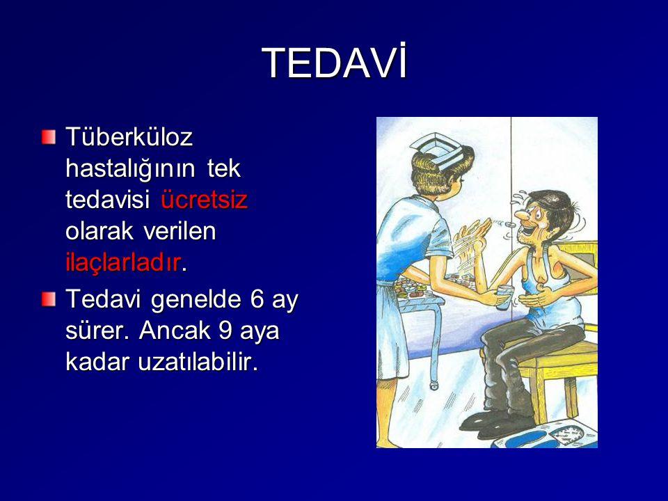 TEDAVİ Tüberküloz hastalığının tek tedavisi ücretsiz olarak verilen ilaçlarladır. Tedavi genelde 6 ay sürer. Ancak 9 aya kadar uzatılabilir.