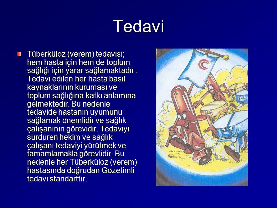 Tedavi Tüberküloz (verem) tedavisi; hem hasta için hem de toplum sağlığı için yarar sağlamaktadır. Tedavi edilen her hasta basil kaynaklarının kurumas