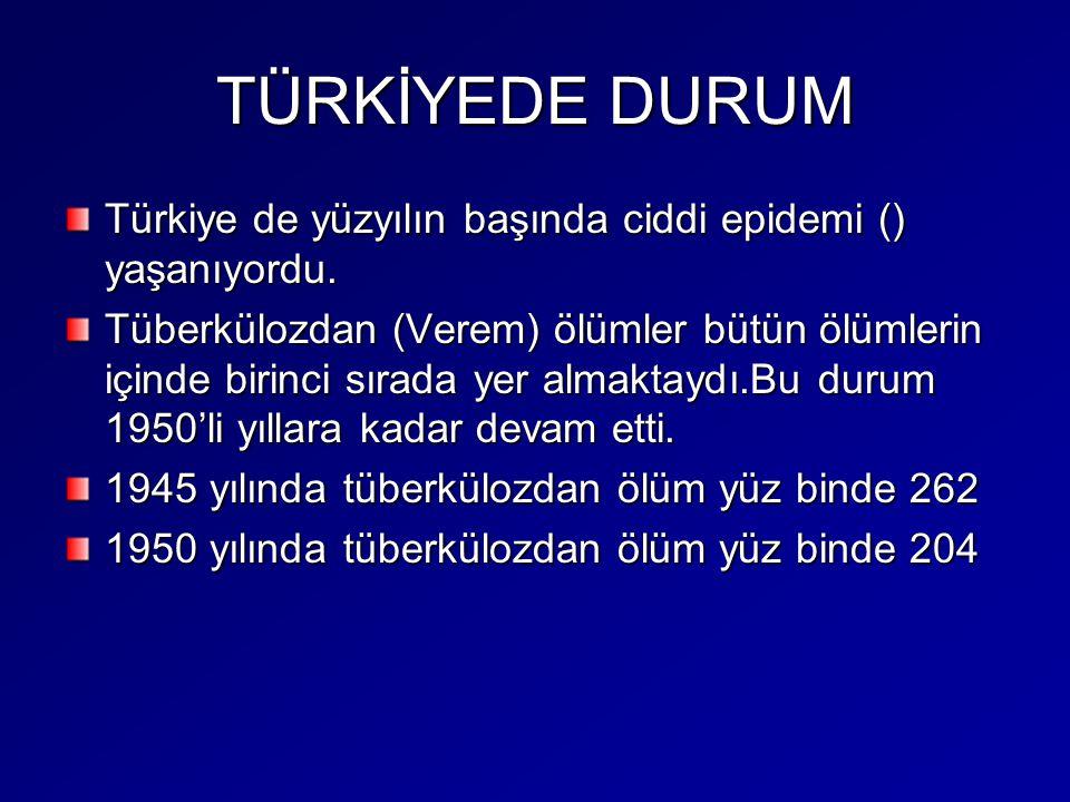 TÜRKİYEDE DURUM Türkiye de yüzyılın başında ciddi epidemi () yaşanıyordu. Tüberkülozdan (Verem) ölümler bütün ölümlerin içinde birinci sırada yer alma