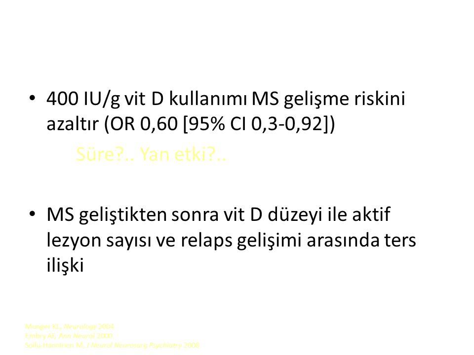25(OH)D3 > 100 nmol/l olanlarda 25(OH)D3< 75 nmol/l olanlara göre %51 düşük risk Norveç'te yağlı deniz ürünleri ve morina karaciğer yağı tüketimi (vit