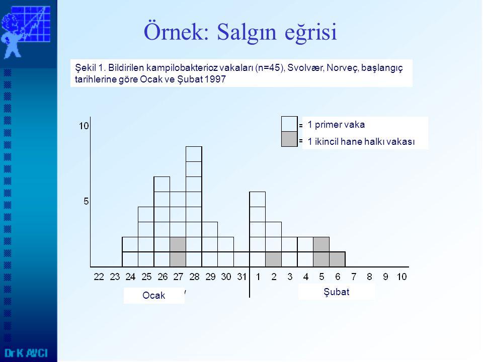 Örnek: Salgın eğrisi 1 primer vaka 1 ikincil hane halkı vakası Ocak Şubat Şekil 1. Bildirilen kampilobakterioz vakaları (n=45), Svolvær, Norveç, başla