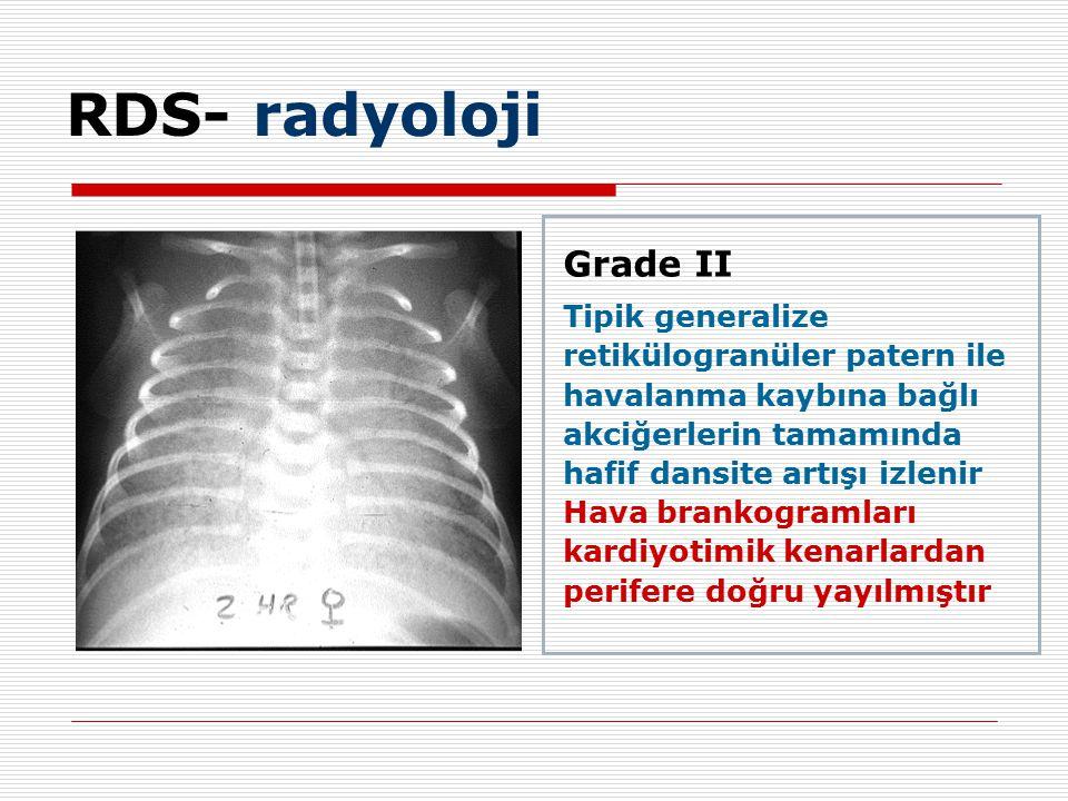 Grade II Tipik generalize retikülogranüler patern ile havalanma kaybına bağlı akciğerlerin tamamında hafif dansite artışı izlenir Hava brankogramları kardiyotimik kenarlardan perifere doğru yayılmıştır RDS- radyoloji