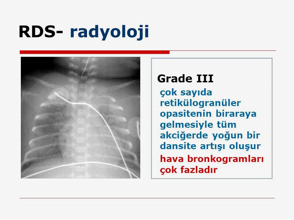 Grade III çok sayıda retikülogranüler opasitenin biraraya gelmesiyle tüm akciğerde yoğun bir dansite artışı oluşur hava bronkogramları çok fazladır RDS- radyoloji