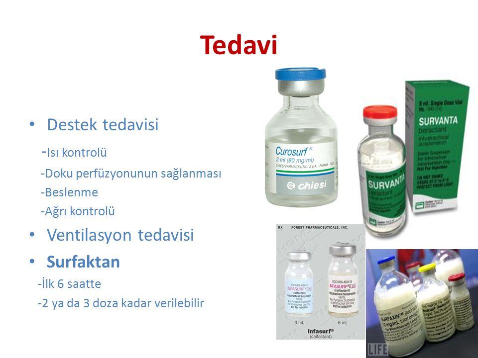 Tedavi Destek tedavisi - Isı kontrolü -Doku perfüzyonunun sağlanması -Beslenme -Ağrı kontrolü Ventilasyon tedavisi Surfaktan -İlk 6 saatte -2 ya da 3 doza kadar verilebilir