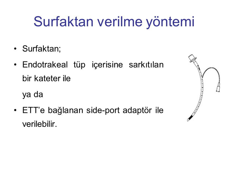 Surfaktan verilme yöntemi Surfaktan; Endotrakeal tüp içerisine sarkıtılan bir kateter ile ya da ETT'e bağlanan side-port adaptör ile verilebilir.