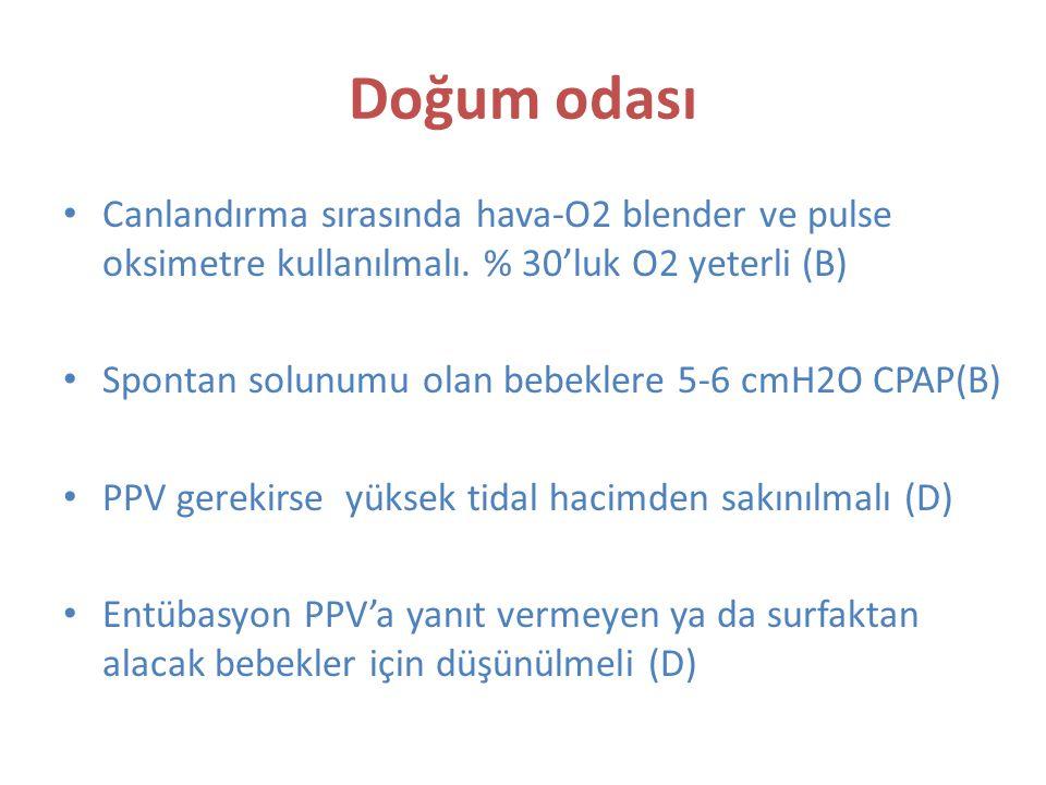 Doğum odası Canlandırma sırasında hava-O2 blender ve pulse oksimetre kullanılmalı.