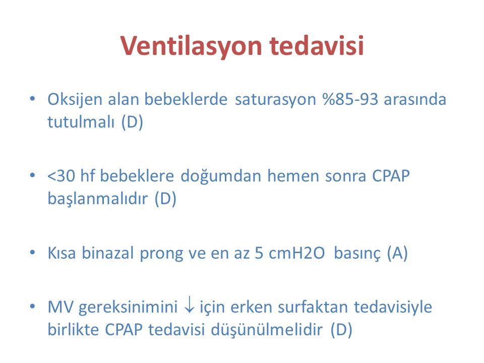 Ventilasyon tedavisi Oksijen alan bebeklerde saturasyon %85-93 arasında tutulmalı (D) <30 hf bebeklere doğumdan hemen sonra CPAP başlanmalıdır (D) Kısa binazal prong ve en az 5 cmH2O basınç (A) MV gereksinimini  için erken surfaktan tedavisiyle birlikte CPAP tedavisi düşünülmelidir (D)