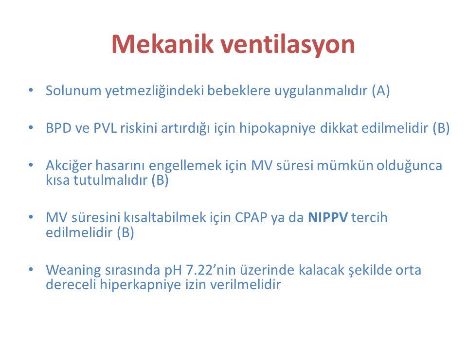 Mekanik ventilasyon Solunum yetmezliğindeki bebeklere uygulanmalıdır (A) BPD ve PVL riskini artırdığı için hipokapniye dikkat edilmelidir (B) Akciğer hasarını engellemek için MV süresi mümkün olduğunca kısa tutulmalıdır (B) MV süresini kısaltabilmek için CPAP ya da NIPPV tercih edilmelidir (B) Weaning sırasında pH 7.22'nin üzerinde kalacak şekilde orta dereceli hiperkapniye izin verilmelidir