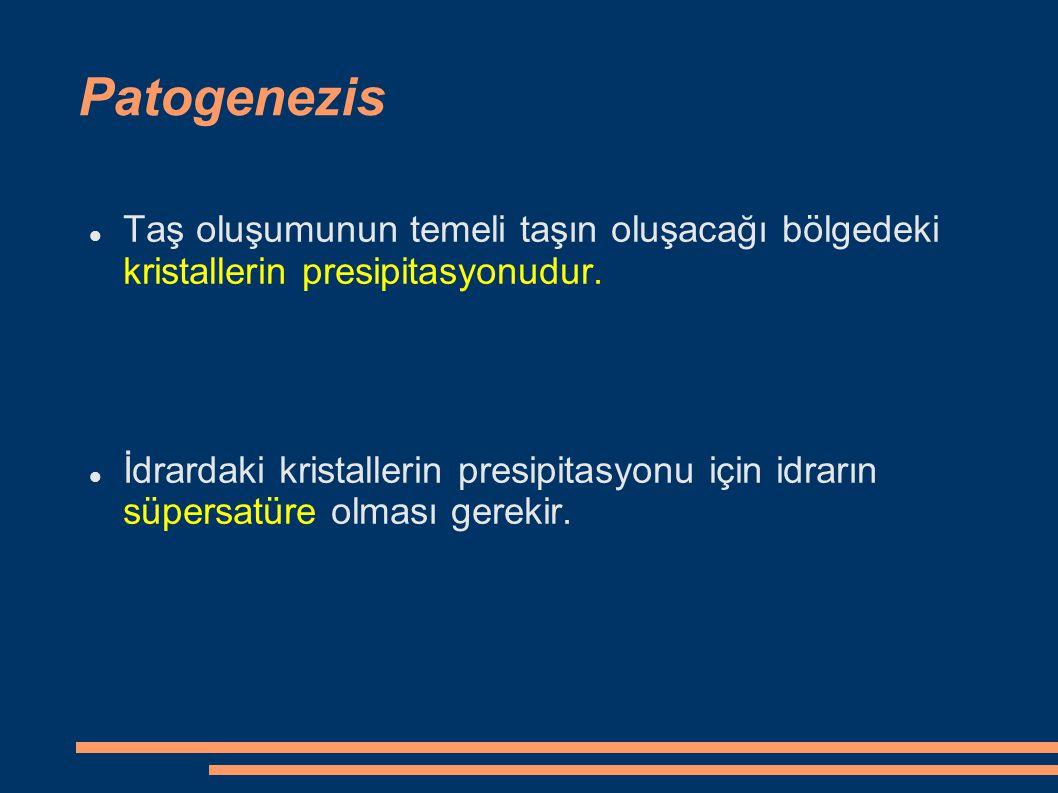 Patogenezis Taş oluşumunun temeli taşın oluşacağı bölgedeki kristallerin presipitasyonudur. İdrardaki kristallerin presipitasyonu için idrarın süpersa