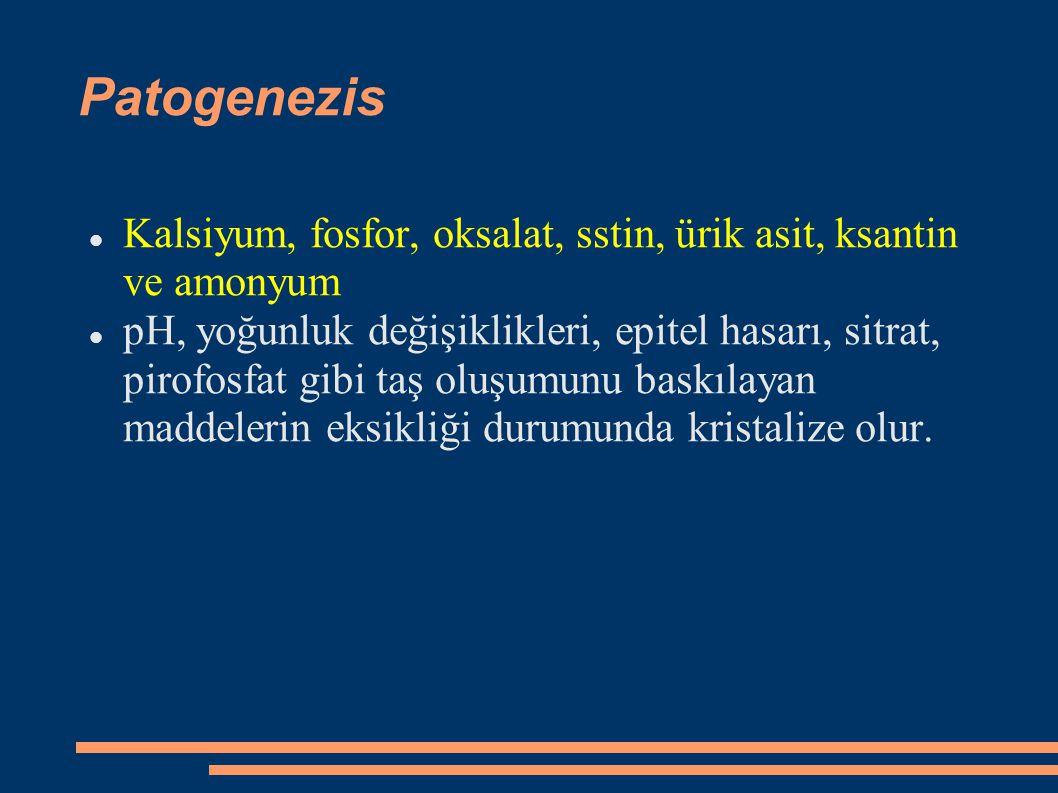Patogenezis Kalsiyum, fosfor, oksalat, sstin, ürik asit, ksantin ve amonyum pH, yoğunluk değişiklikleri, epitel hasarı, sitrat, pirofosfat gibi taş ol