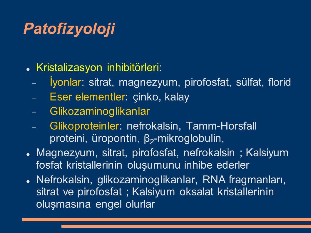 Patofizyoloji Kristalizasyon inhibitörleri:  İyonlar: sitrat, magnezyum, pirofosfat, sülfat, florid  Eser elementler: çinko, kalay  Glikozaminoglik