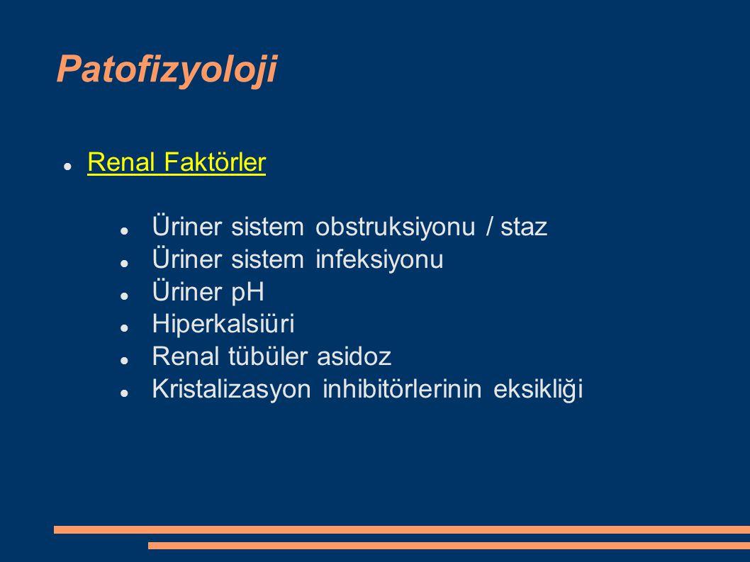Patofizyoloji Renal Faktörler Üriner sistem obstruksiyonu / staz Üriner sistem infeksiyonu Üriner pH Hiperkalsiüri Renal tübüler asidoz Kristalizasyon