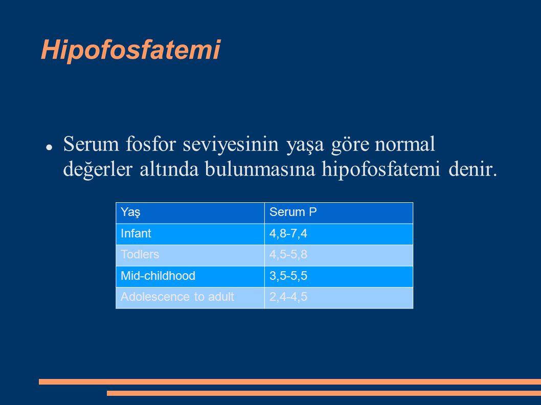 Hipofosfatemi Serum fosfor seviyesinin yaşa göre normal değerler altında bulunmasına hipofosfatemi denir. YaşSerum P Infant4,8-7,4 Todlers4,5-5,8 Mid-