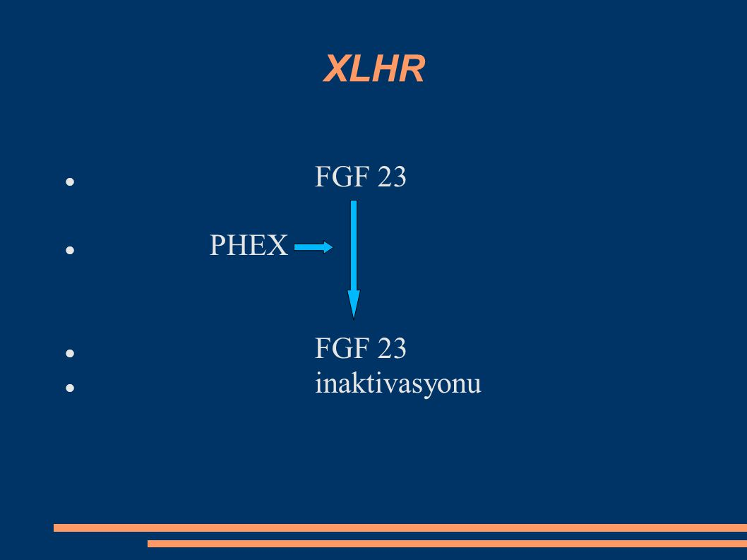 ODHR FGF 23 mutasyonu Anormal FGF 23 PHEX anormal FGF 23 inaktive olmaz FGF 23 artar fosfatüri