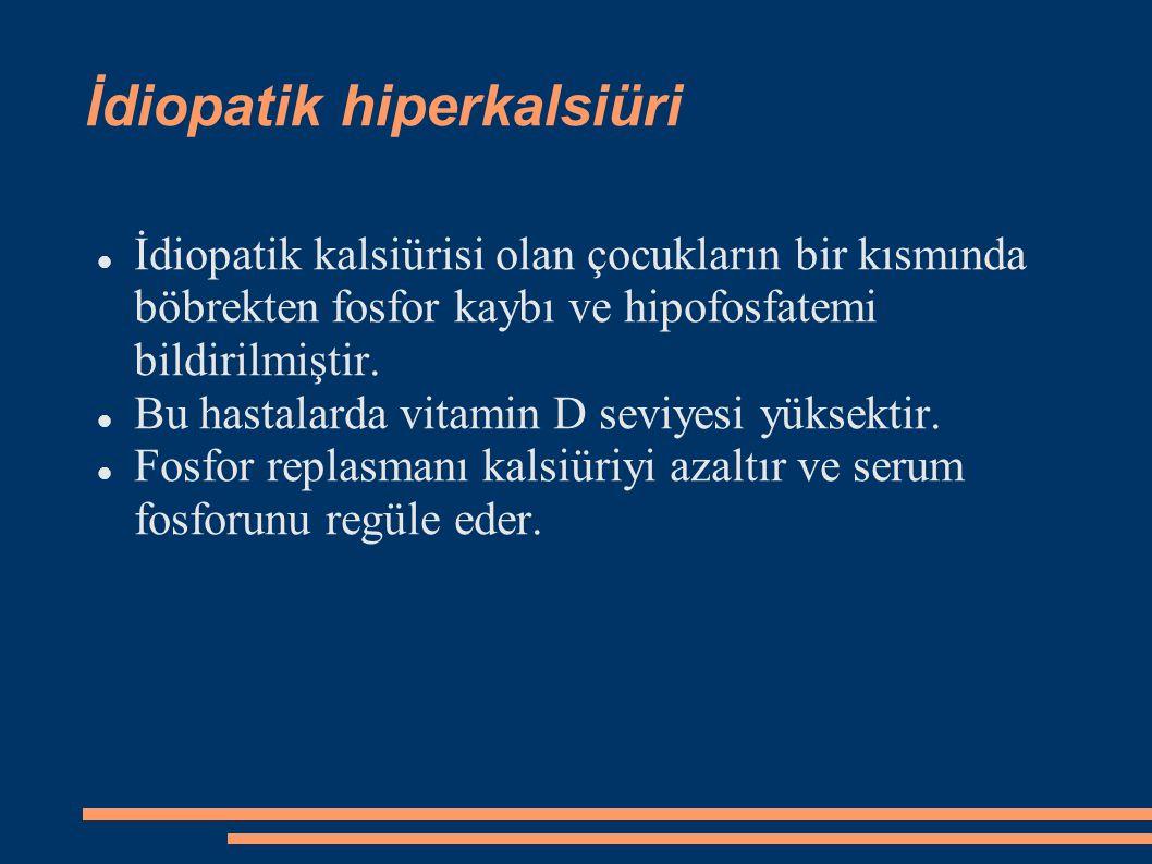 İdiopatik hiperkalsiüri İdiopatik kalsiürisi olan çocukların bir kısmında böbrekten fosfor kaybı ve hipofosfatemi bildirilmiştir. Bu hastalarda vitami