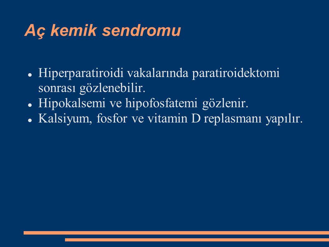 Aç kemik sendromu Hiperparatiroidi vakalarında paratiroidektomi sonrası gözlenebilir. Hipokalsemi ve hipofosfatemi gözlenir. Kalsiyum, fosfor ve vitam