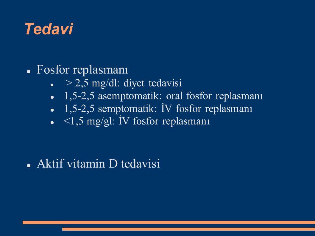 Tedavi Fosfor replasmanı > 2,5 mg/dl: diyet tedavisi 1,5-2,5 asemptomatik: oral fosfor replasmanı 1,5-2,5 semptomatik: İV fosfor replasmanı <1,5 mg/gl