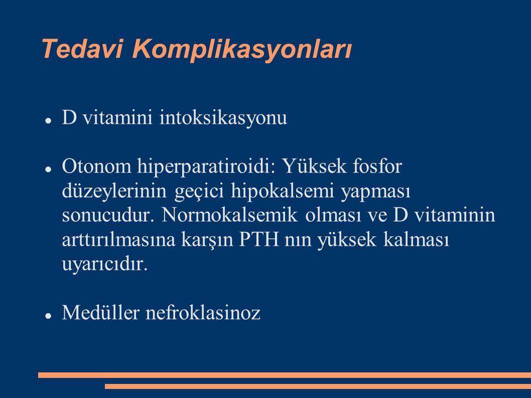 Tedavi Komplikasyonları D vitamini intoksikasyonu Otonom hiperparatiroidi: Yüksek fosfor düzeylerinin geçici hipokalsemi yapması sonucudur. Normokalse